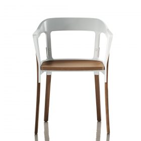 magis-steelwood-chair Chair,Magis,STELLWOOD CHAIR,2008.Ronan & Erwan Bouroullec,2008. Chair with arms made with seat and legs in solid beech, natural or painted.. Magis