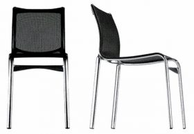 sedia-highframe-sedia Chair, Alias, HIGHFRAME, Alberto Meda Stacking chair with structure composed of extruded aluminium profile and die-cast aluminium elements, seat and back in fire retardant PVC covered polyester mesh.  . Alias