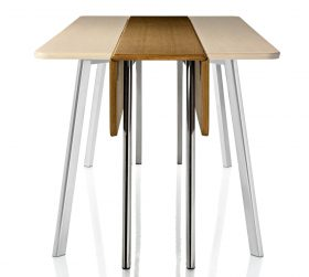 magis-deja-vu-console Table Console, Magis, DEJA VU CONSOLE, Naoto Fukasawa, 2010 Folding table console with legs in polished alumium and top in MDF white lacquered or in natural oak venner natural or stained wengè.  . Magis