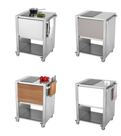cunkitchen-induction kitchen module, JokoDomus, CUNKITCHEN INDUCTION  Kitchen module with two area to cook (induction mode) structure in stainless steel, drawer in stainless steel, corian clay, corian white or oak.  . Jokodomus