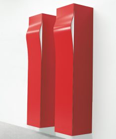 breeze-pallucco Storage Unit, Pallucco, BREEZE WALL MOUNTED,Kazuhiro Yamanaka, 2004   A vertical storage unit and a wall mounted cabinet in MDF, the edges are angled at 45°.  . Pallucco