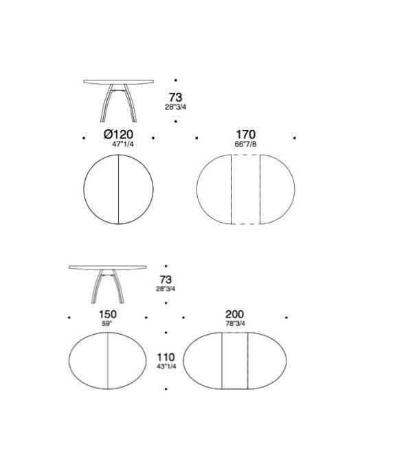 triangolo table dimension